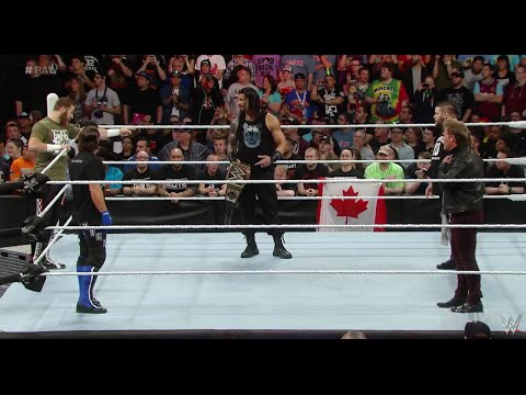 Roman Reigns is confronted by Y2J, AJ Styles, Kevin Owens and Sami Zayn - WWE Raw April 4 2016