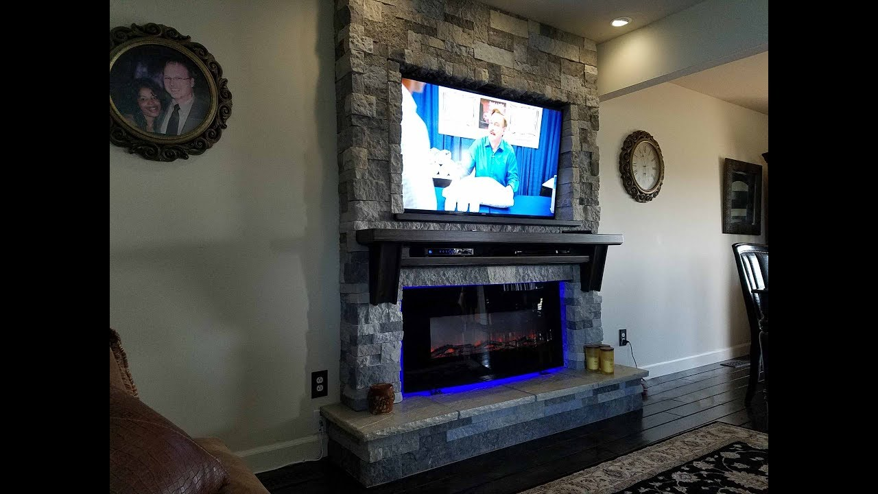 New Fireplace And T V In The Familyroom How I Built It Airstone From Lowes Tv Is Samsung
