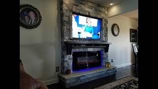 New Fireplace and T.V. in the Familyroom and how I built it.  Airstone from Lowes TV is Samsung.