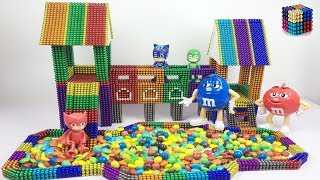 DIY How To Make Indoor Playground with Magnetic Balls &M&M
