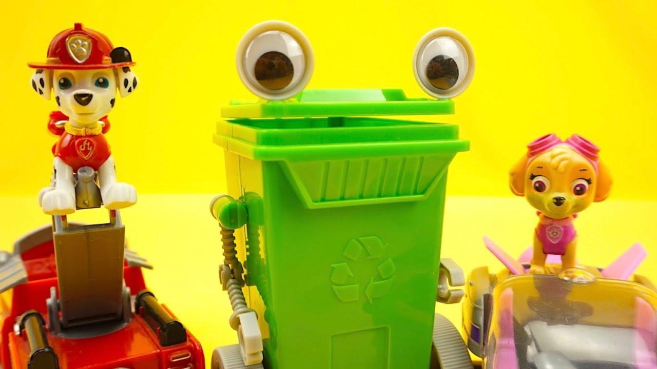 Щенячий патруль и зеленый контейнер открывают сюрпризы