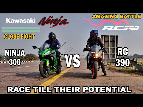 Kawasaki Ninja 300 Vs Ktm RC 390    Long Race    Highway Battle    Really Close Fight