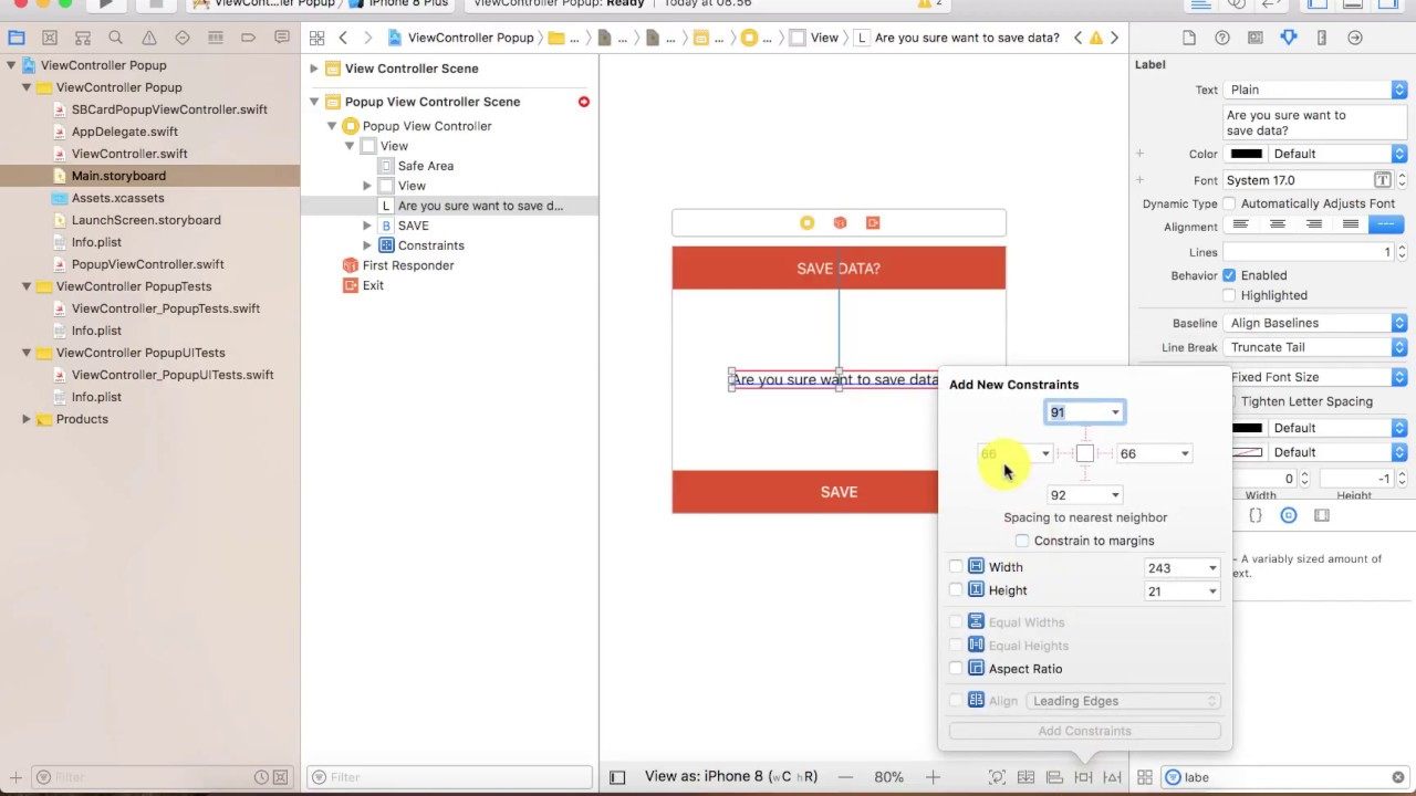 Create Popup ViewController Animation Swift 4