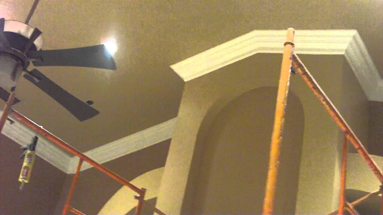 vaulted ceiling crown molding job - youtube