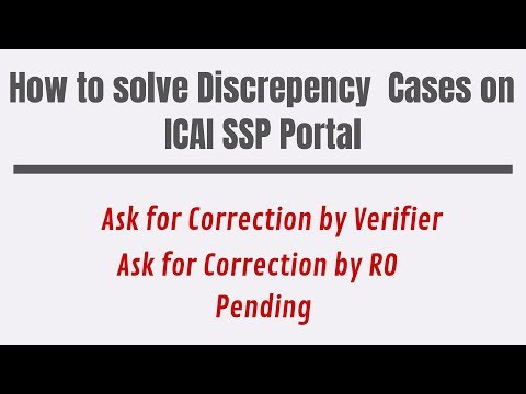 Correction by Verifier, Correction by RO, Pending || How to solve these issues on ICAI SSP Portal