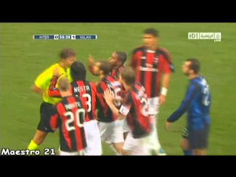 classless thug Pandev provokes Abate (Milan derby 2010)