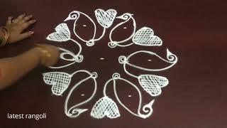 latest rangoli design with 7x4 middle dots ||simple peacock symbol rangoli design