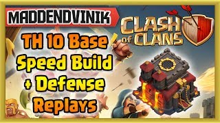 Clash of Clans - TH 10 Base Speed Build with Defensive Replays (Gameplay Commentary)