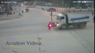 Accident Videos#109 | truck Hits women during road crossing | CCTV Footage