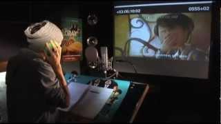 Marco Mengoni durante la sessione di doppiaggio di Lorax - Il guardiano della foresta