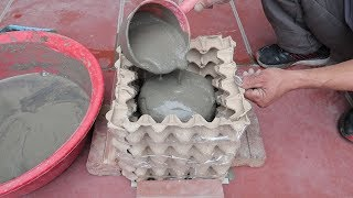 Amazing Ideas From Cement And Egg Tray - Simple Way To Have Beautiful And Unique Pots At Home