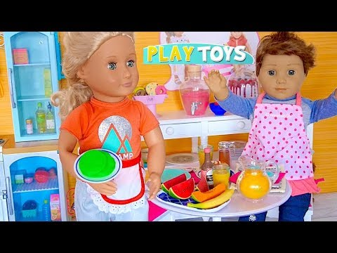 American Girl Doll baking Green Pancakes w/ kitchen toys food in AG Dollhouse pretend play w/ dolls