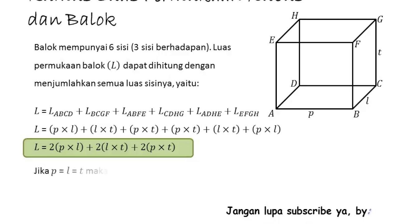 Cara Menghitung Luas Permukaan Kubus dan Balok by MathLov ...