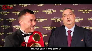 JOSH WARRINGTON REVIEWS HIS NEW MOVIE AT THE PREMIER NIGHT IN LEEDS