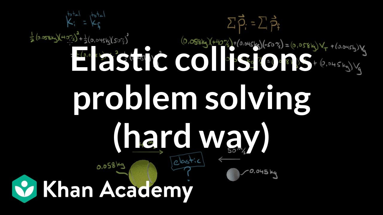 Solving elastic collision problems the hard way (video) | Khan Academy