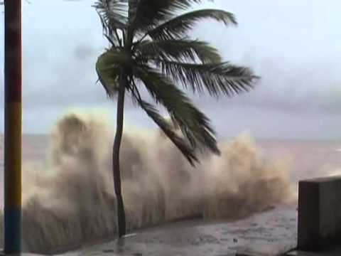 High Tide Situation on beach of Daman (watch very high water wave in the ocean )
