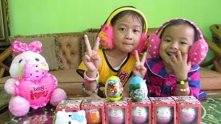 10 HELLO KITTY Surprise Unboxing Eggs Toys ❤ Mickey Mouse Clubhouse Donald Duck Mainan Anak