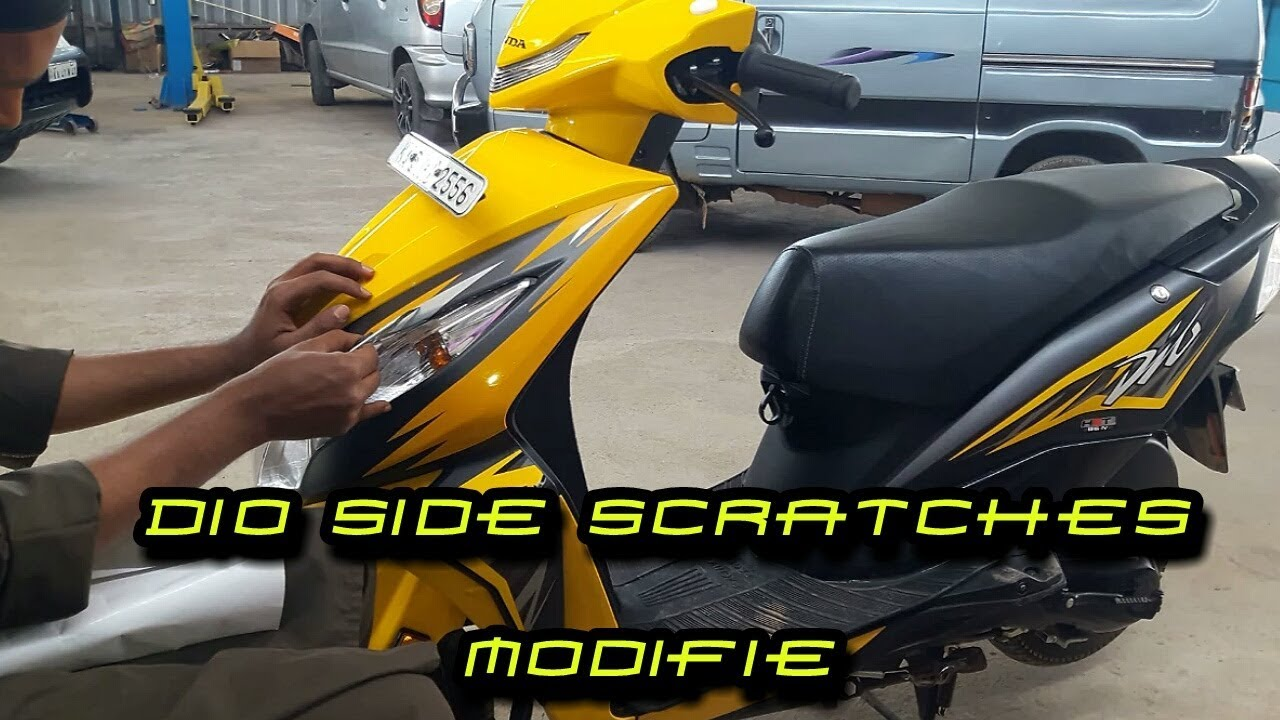 Yellow dio scooter side scratches modifie