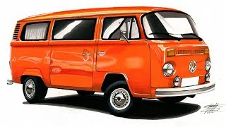 Car Drawing - Volkswagen Transporter T2 - Time Lapse