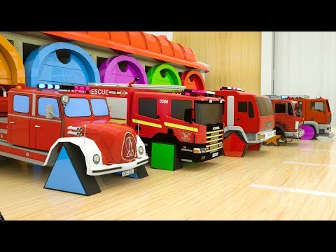 Learn Shapes with Fire Trucks Assembly Rectangle Tyres, Surprise Garage Street Vehicles for Toddlers
