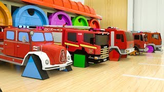 Download Learn Shapes with Fire Trucks Assembly Rectangle Tyres, Surprise Garage Street Vehicles for Toddlers Mp3 and Videos