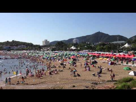 beach in china Dalian city сhinese people are poor there is no culture