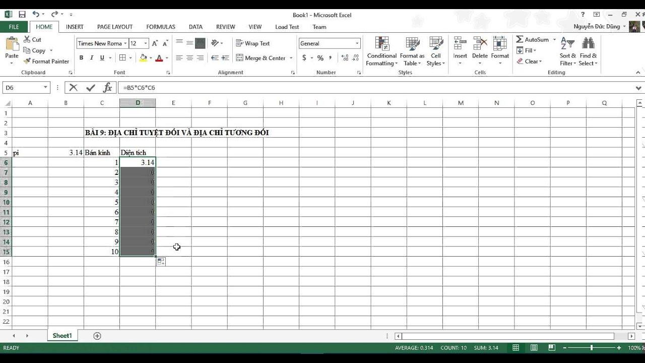 [Excel 2013] Bài 09: Địa chỉ tuyệt đối và địa chỉ tương đối