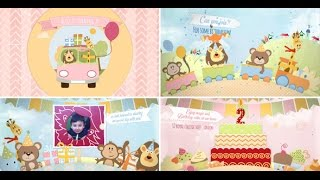 Video Birthday Invitation and Opener - After Effects Royalty Free Template - Boys and Girls Version