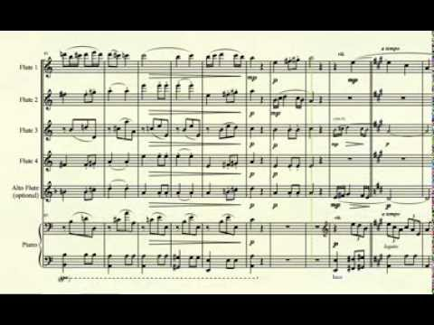 Symphony No  7 (2nd Movt) - L  V  Beethoven - for 4-part flute ensemble  with piano