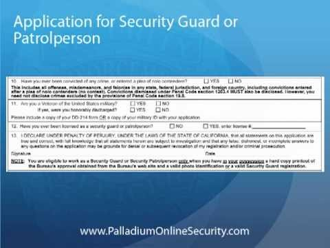 Application for Security Guard or Patrolperson - Submitting BSIS Paperwork  (Guard Card)