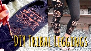 Easy DIY Tribal LEGGINGS - Coolest Idea Ever -Bleach Art Designs on Clothing!