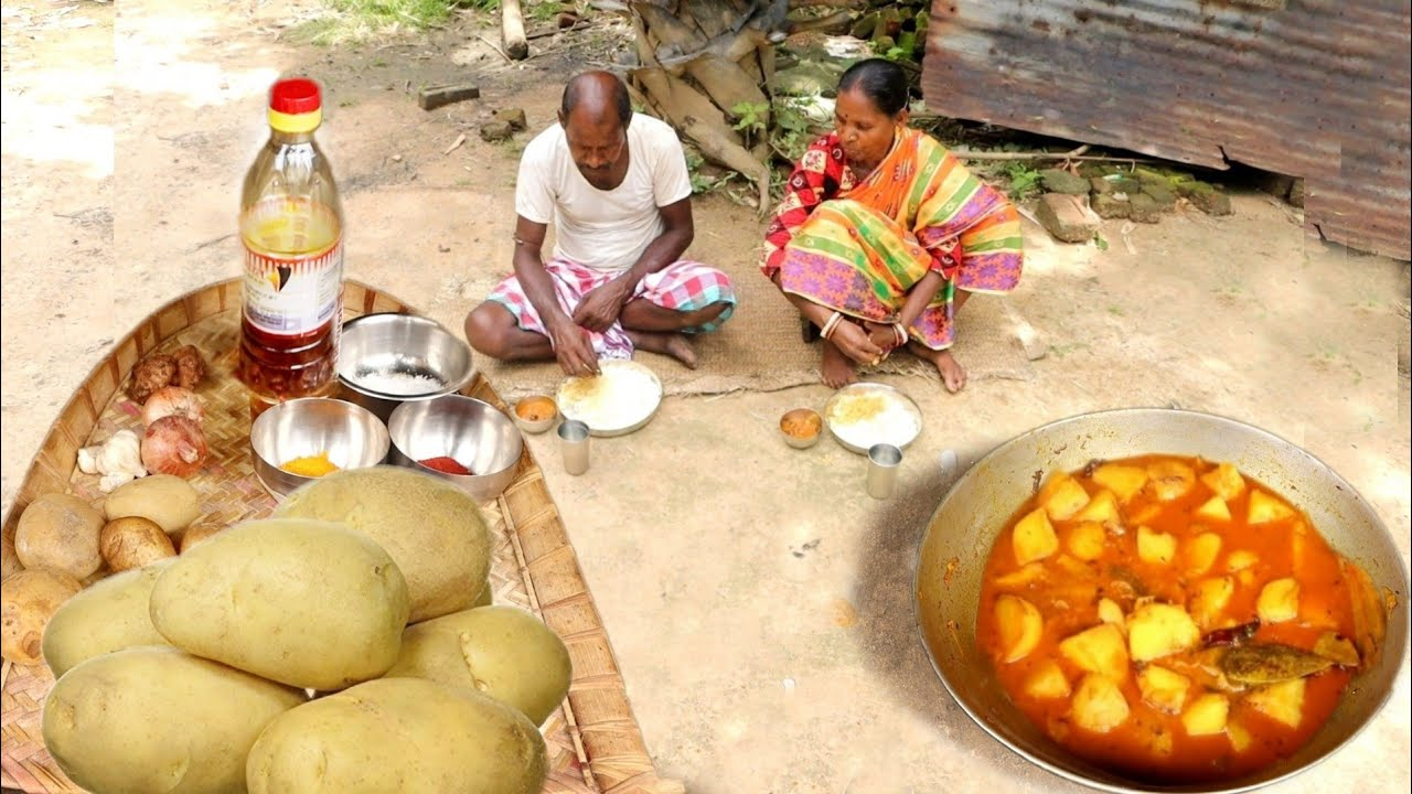 POTATO CURRY cooking and eating with rice by santali tribe couple    rural village India