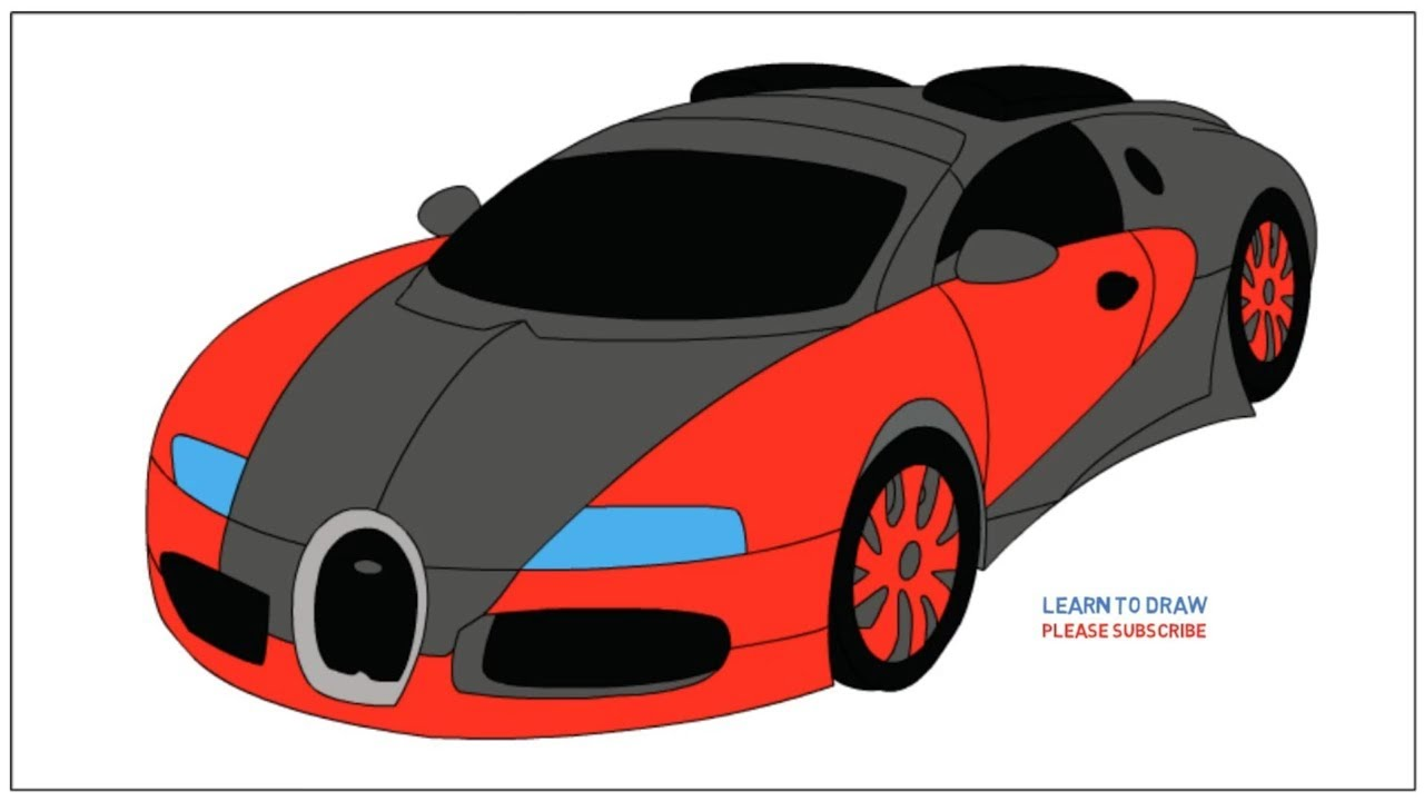 How To Draw A Bugatti Veyron Step By Step Easy Coloring Page Drawing Learn Colors For Kids Youtube