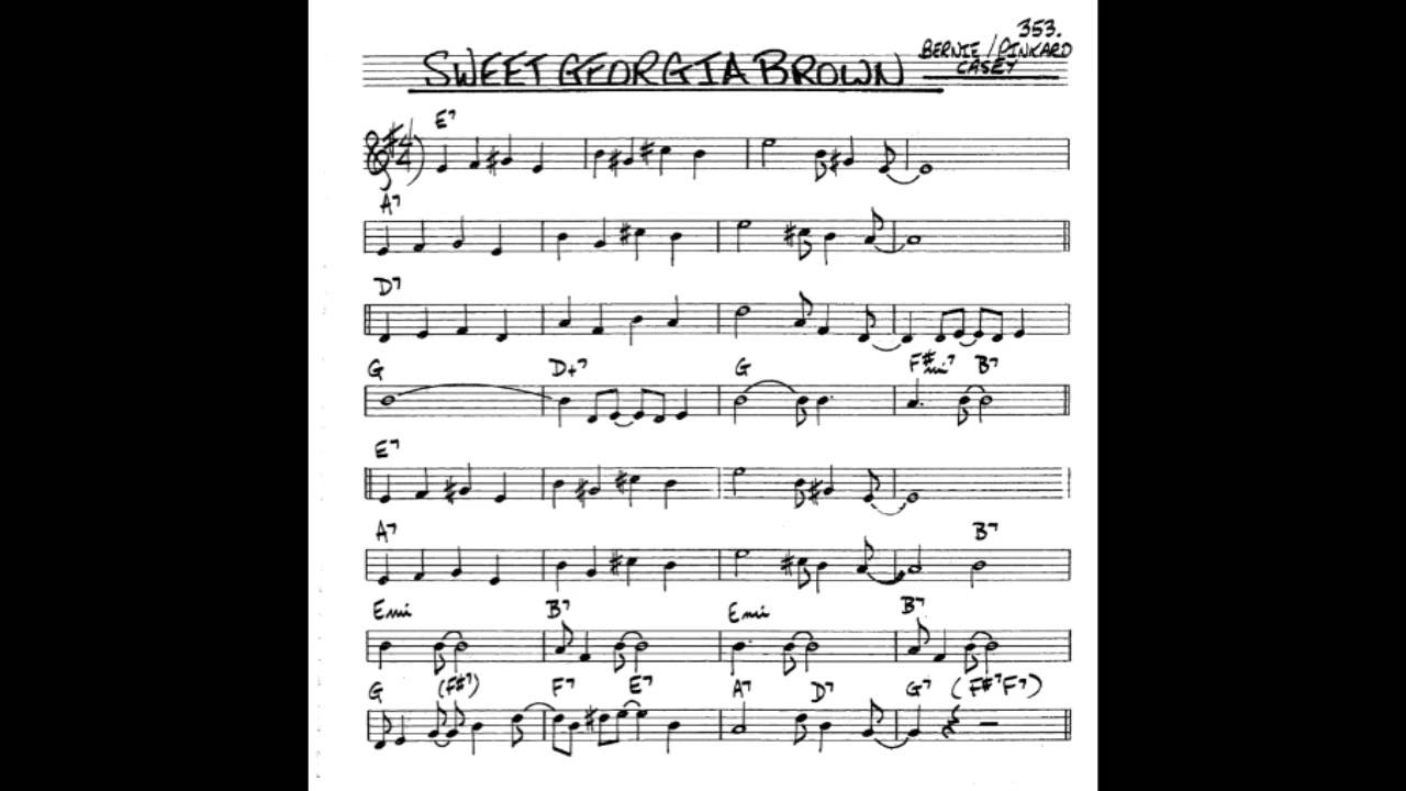 Sweet Georgia Brown Play Along Backing Track Bb Key Score Trumpet Tenor Sax Clarinet