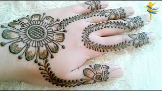Sunflower design innovative and simple - Mehndi Design for Hands 2019