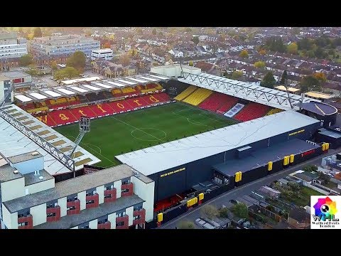 Watford FC Premier League Football Stadium Drone view