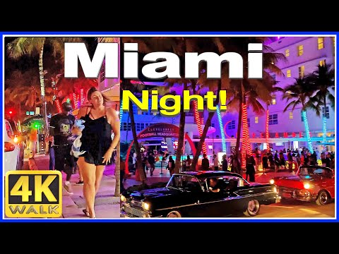 4K  INCREDIBLE WALK at Ocean Drive night! SOUTH BEACH Miami Beach Florida USA
