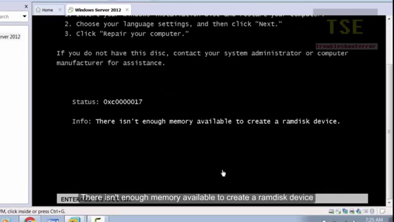 How to fix 'There isn't enough memory available to create a ramdisk device'  (0xc0000017) VMware