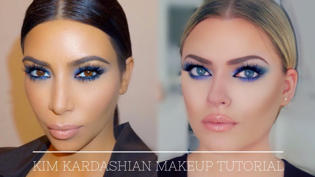 kim kardashian inspired makeup tutorial - blue smokey eye (also for hooded  eyes!)