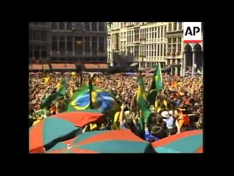 Belgian fans react to World Cup defeat to Brazil