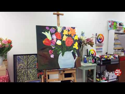 Painting 'Tulips on a Rainy Day' in the Shiny Happy Art Studio