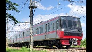 ピカピカ編成!名鉄3100系+3300系 3107F+3301F (急行岐阜行き) 笠松カーブ通過