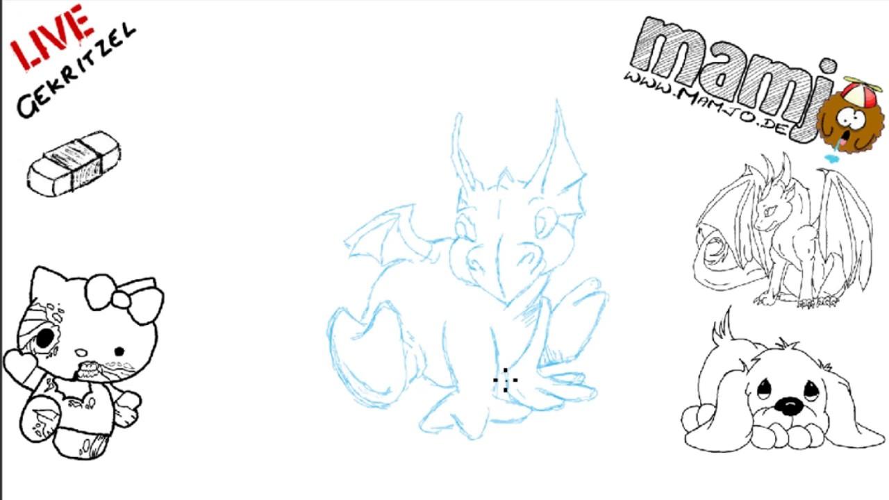 278 Zeichne einen süssen kleinen Drachen skizze Tutorial Malen Kurs ...
