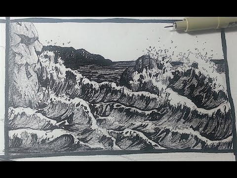 Pen & Ink Drawing Tutorials | How to draw a seascape with ...