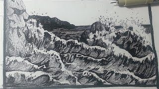 Pen & Ink Drawing Tutorials | How to draw a seascape with waves