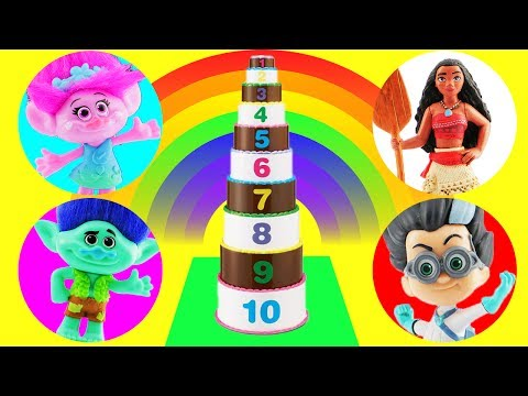 Cake Toy Surprise Game! Learn Numbers w Moana, Trolls, Smurfs & Beauty & The Beast Movie Toys