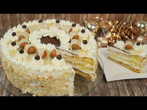 Festliche Nougat-Marzipan-Torte - Marzipantorte dekorieren