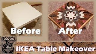 DIY IKEA Table makeover | Geometric Table Art | Reclaimed wood decoration | 가구 메이크오버 | 리폼