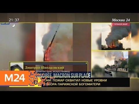 Смотреть Эксперт прокомментировал пожар в соборе Парижской Богоматери - Москва 24 онлайн