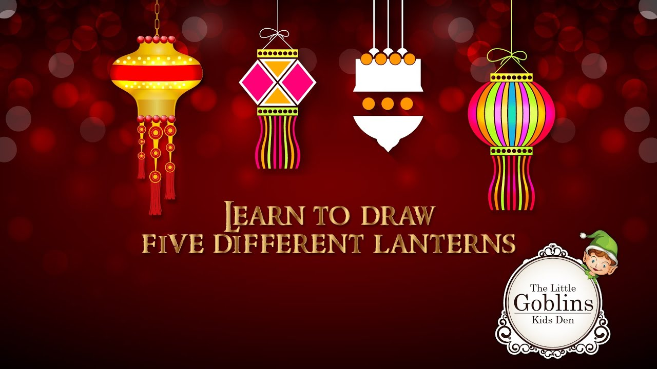 Learn to draw 4 different lanterns - Diwali Special on The Little ... for Diwali Lantern Drawing  45hul